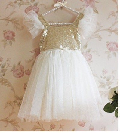 Image of Ivory and Gold Glitter Dress, Flower Girl Dress, Princess Dress
