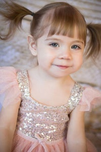Image of Pink and Gold Glitter Dress, Flower Girl Dress, Princess Dress
