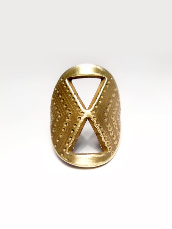 Image of SHIELD RING: SANDS OF TIME (BRASS)