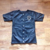 Image of Real perforated leather baseball jersey