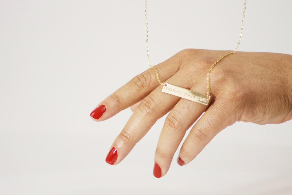 Image of PYM 14k Gold Bar Necklace Engraved