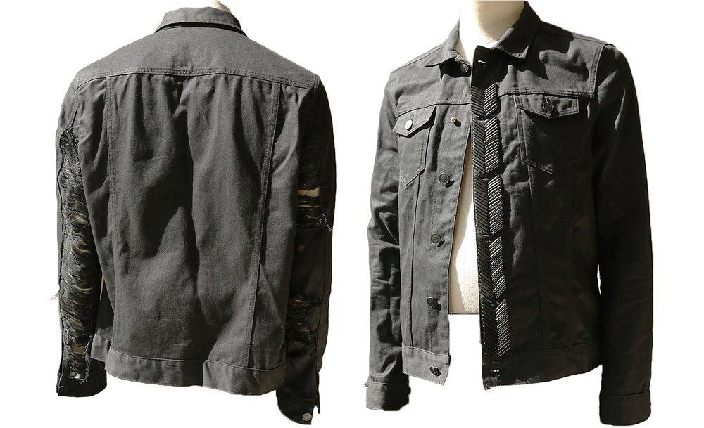 Image of Black Beaded Hendrix Rip Denim Jacket
