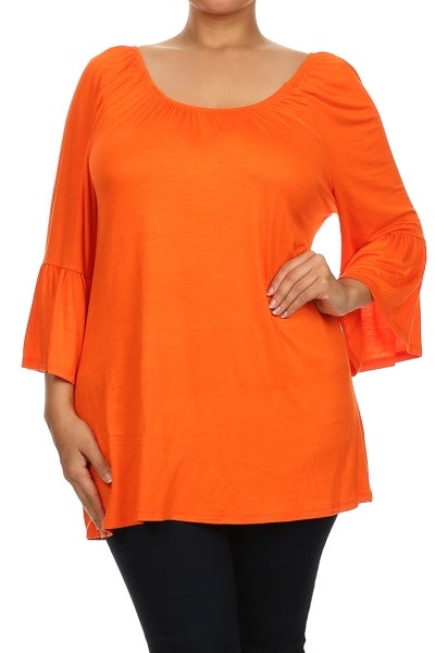 Image of Orange cowl neck tunic PLUS
