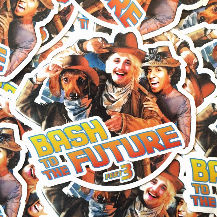 "Image of Bash To The Future 3 4x3.5"" slap sticker"