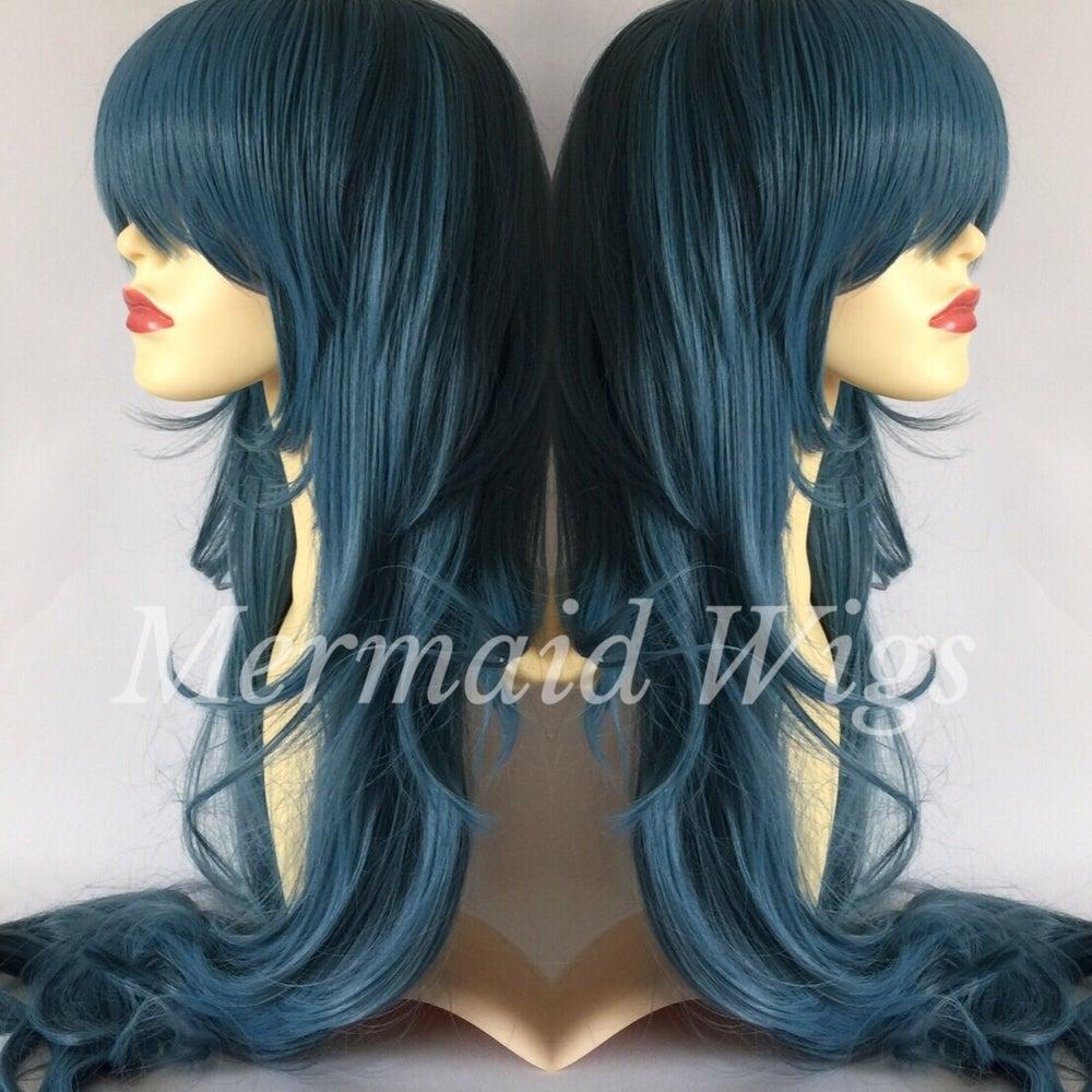 Image of Monster, Dark Dusky Blue Long Beehive Cosplay Wig