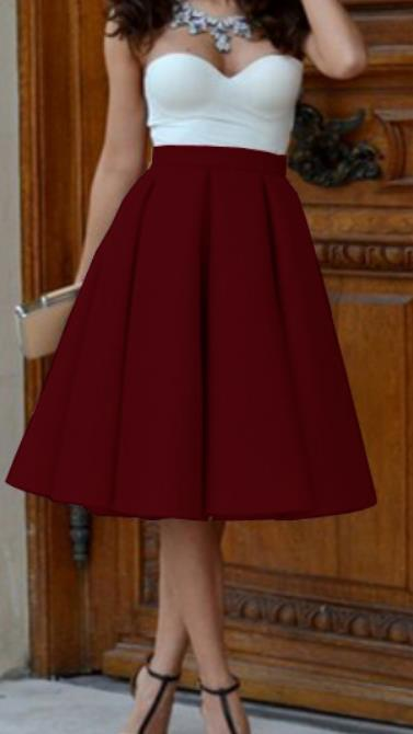Image of Skirts pleated skirt of tall waist horn