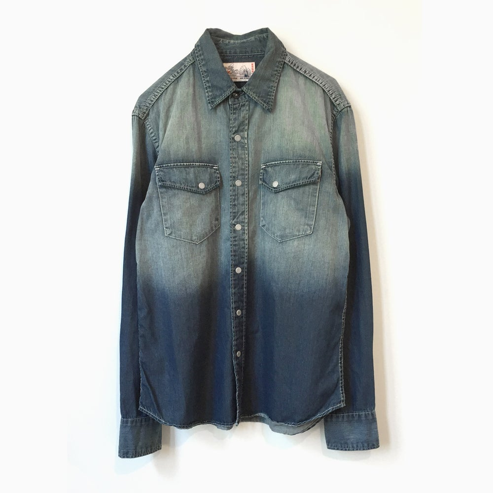 Image of Garbstore x Indigo Farm 2 Pocket Ombre Western Shirt - INDIGO