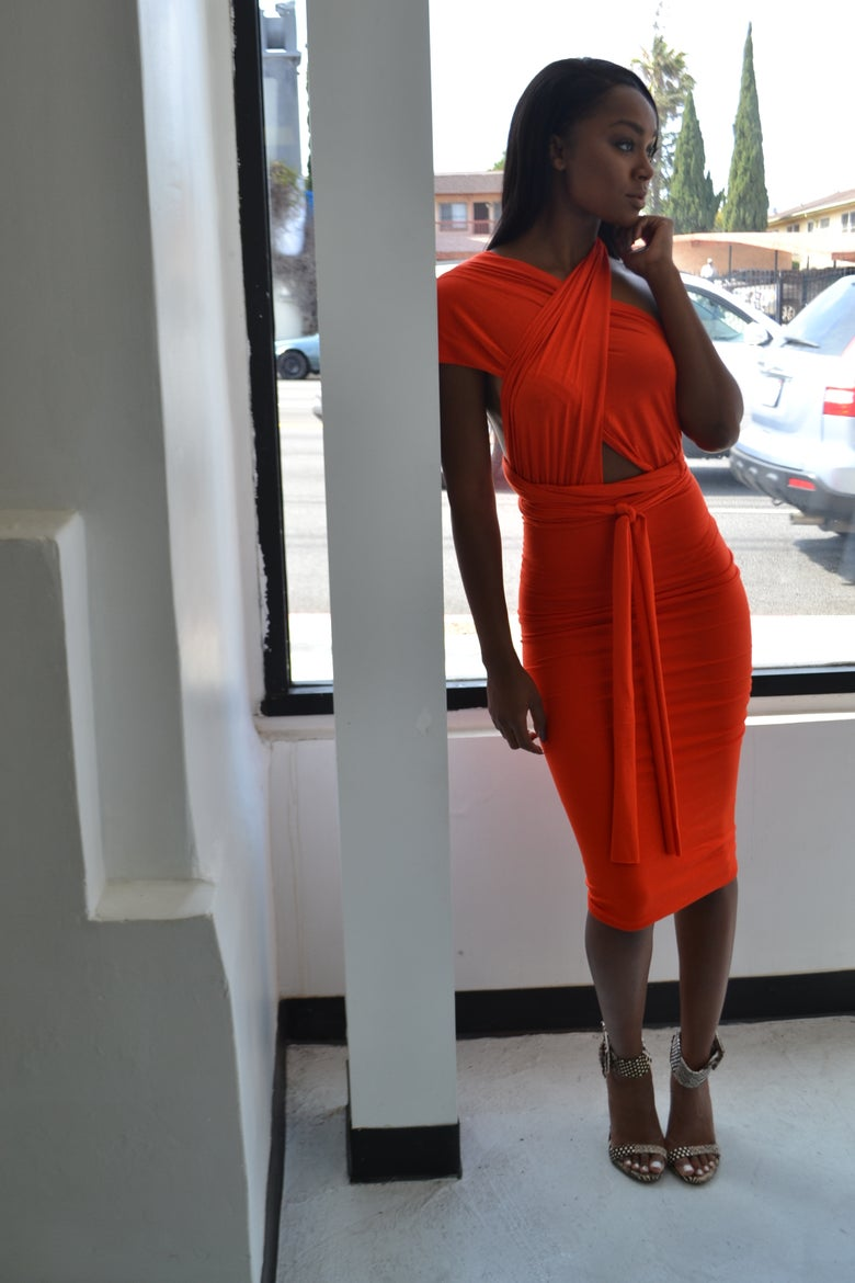 Image of Philthy Ragz Orange Magic Wrap Pencil Dress