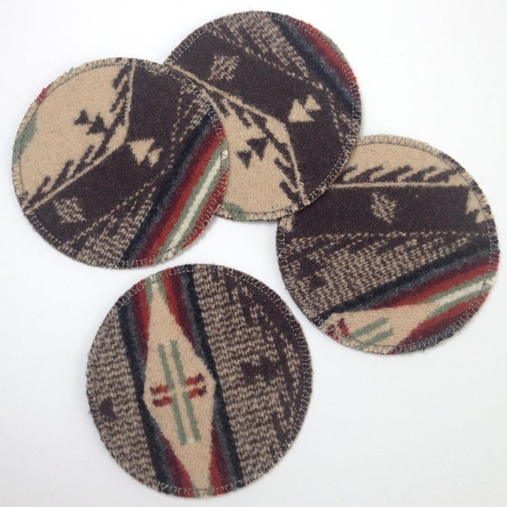 Image of Wool & Leather Coasters - Brown