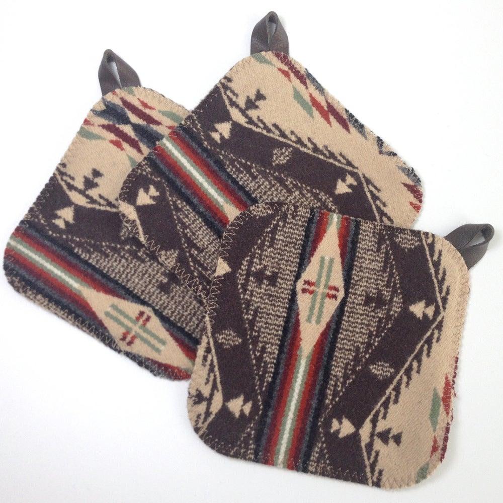 Image of Western Wool Potholder - Brown