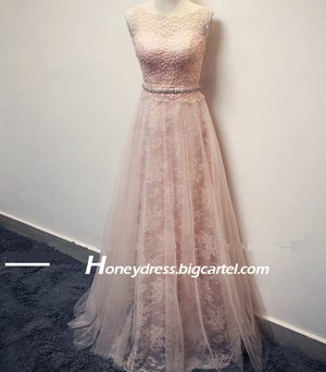 Image of Elegant Lace A Line Long Prom Dress Pink Party Dress 2015