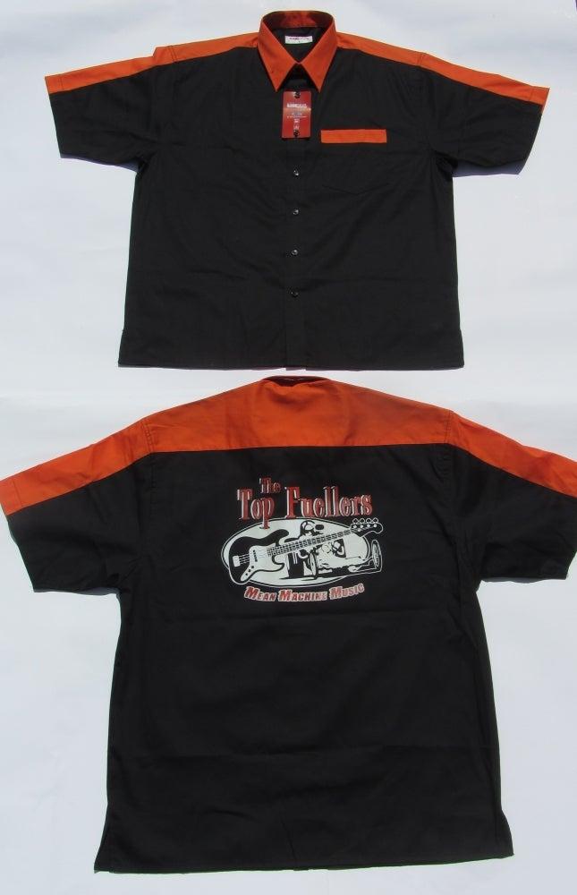 Image of Bowling Shirt, BACK PRINT, Black with Orange Trim