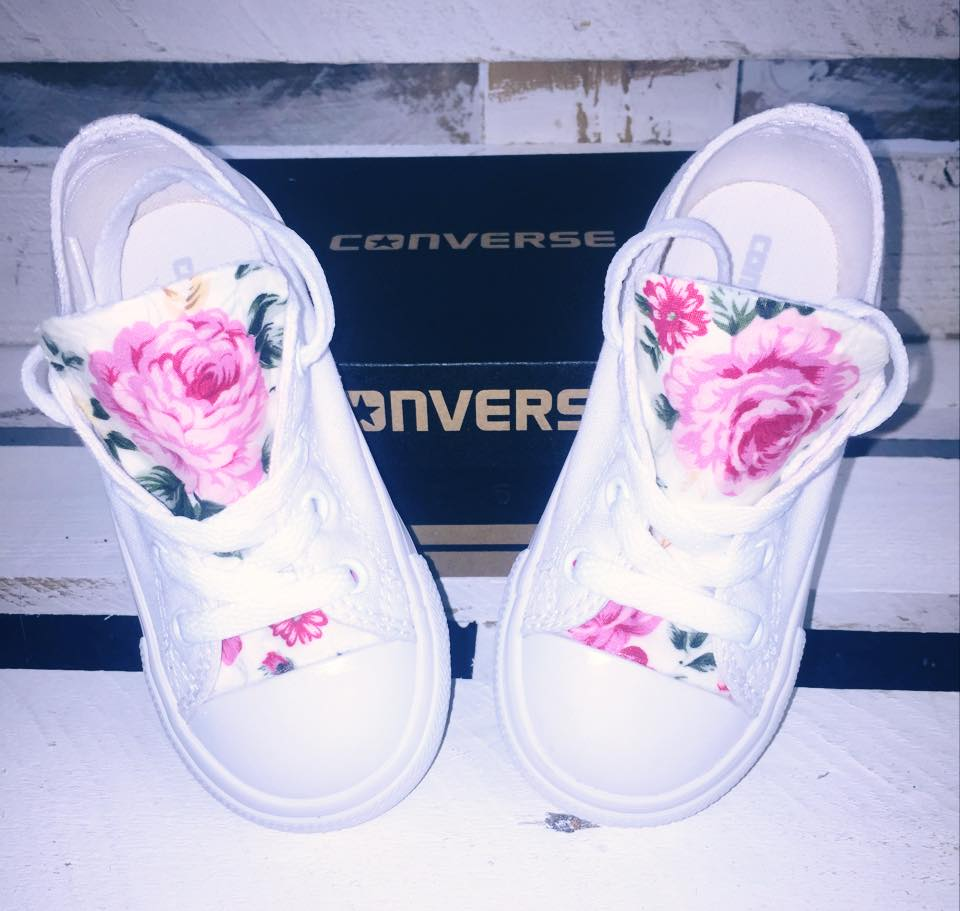 Image of All white floral infant converse