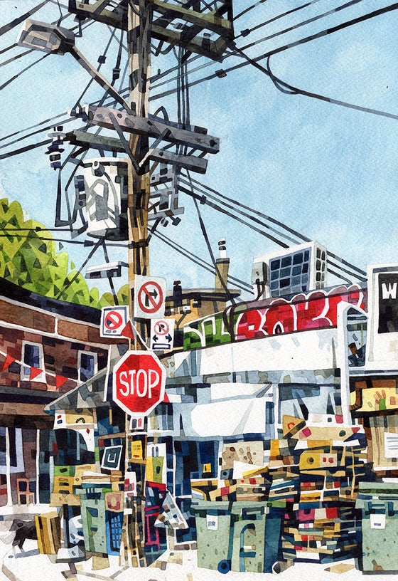 Image of Toronto Street Corner Watercolour Print