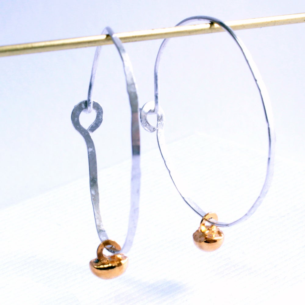 Image of Pebble hammered loop earrings