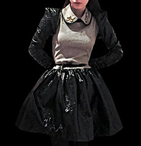 Image of Black Leather Stripe Ballerina