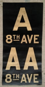 Image of 1940s IND New York Subway Sign w/Routes: A 8TH AVE AA 8TH AVE 14x28 inches