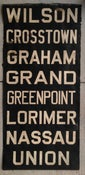 Image of 1930s Brooklyn Trolley Dodgers Roll Sign Vellum GREENPOINT LORIMER NASSAU 23x48 inches