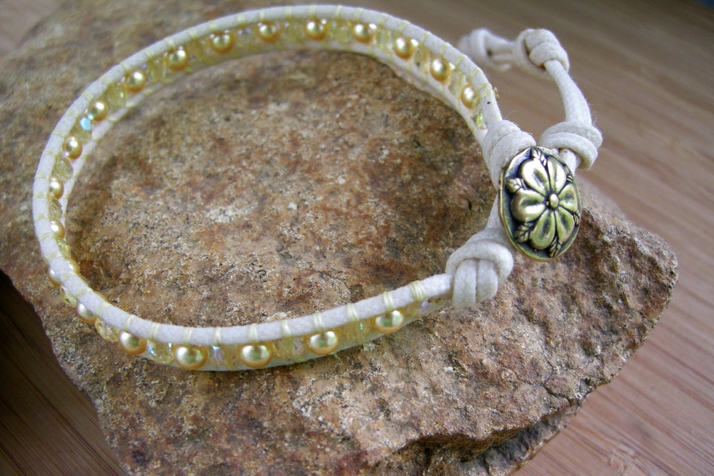 Image of  Pearl and Czech Bead Wrap Bracelet