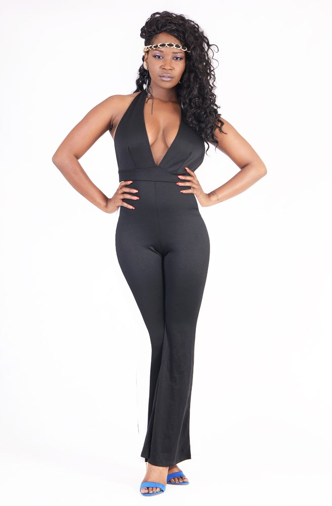 Image of BELLE FLARE TUXEDO JUMPSUIT