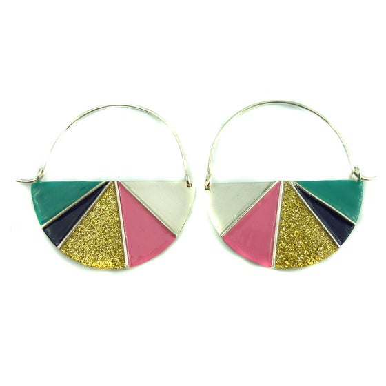 Image of Divided Half Round Earrings - Warm Glitter