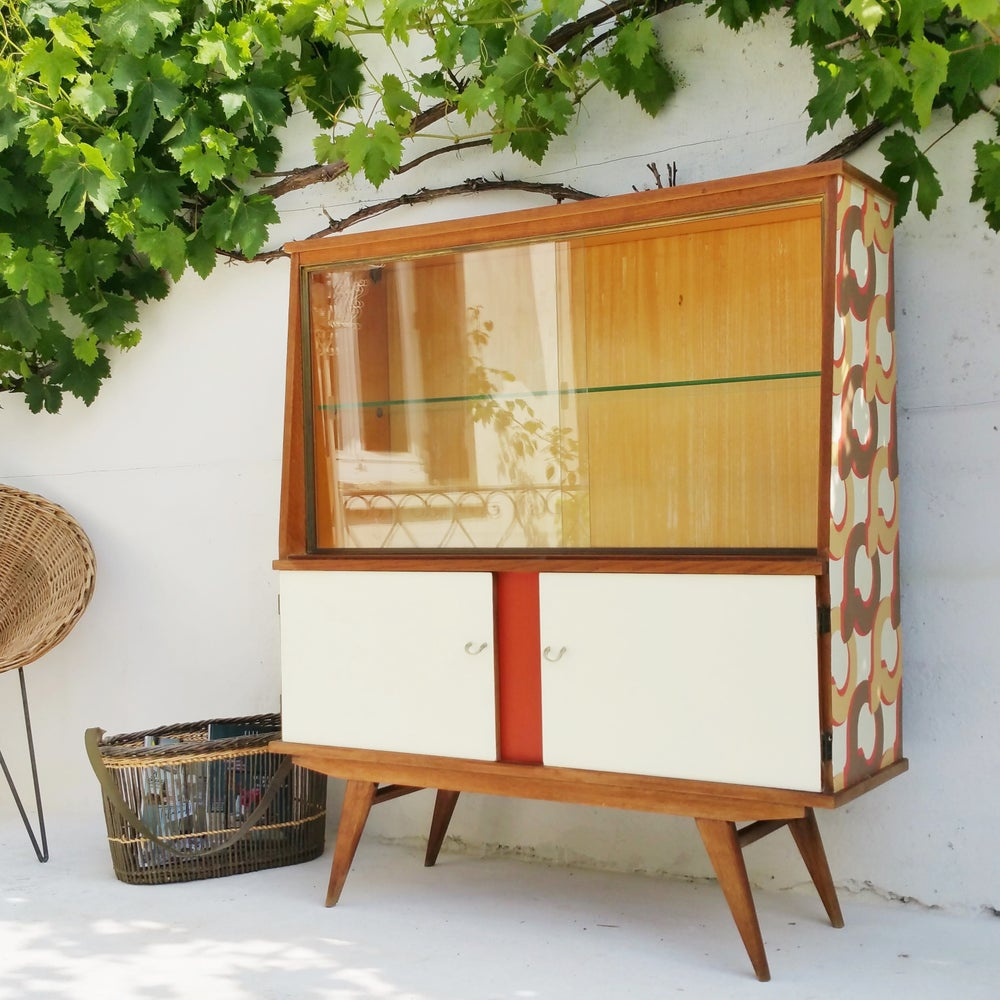buffet haut en ch ne vintage fibresendeco vannerie artisanale mobilier vintage. Black Bedroom Furniture Sets. Home Design Ideas