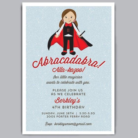 Image of Abracadabra Birthday Invite + Envelopes