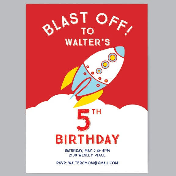 Image of Blast Off! Birthday Party Invitations + Envelopes