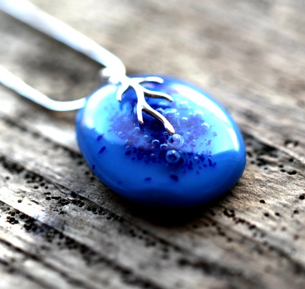 Handmade Blue Fused Glass Pendant Necklace with Bubbles and Sterling Silver - Laura Pettifar Designs