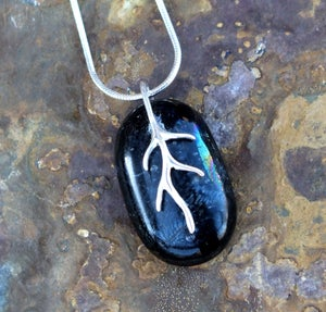 Small Handmade Black / Grey Fused Glass Pendant Necklace with Sterling Silver Bail and Chain - Laura Pettifar Designs