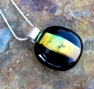 Black and Gold Handmade Fused Glass Pendant Necklace with Dichroic Glass and Sterling Silver - Laura Pettifar Designs