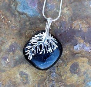 Handmade Black / Grey Fused Glass Pendant Necklace with Sterling Silver Tree Bail and Chain - Laura Pettifar Designs