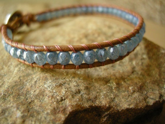 Image of Single Stone Blue Wrap Bracelet