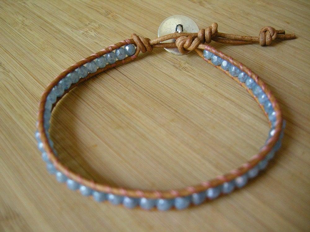 Image of Single Stone Blue Wrap Bracelet