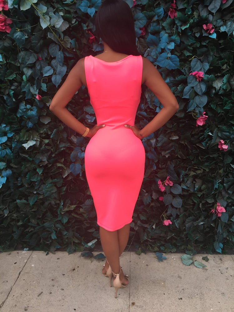 Image of Split the bandage dress Condole belt is tight DRESS