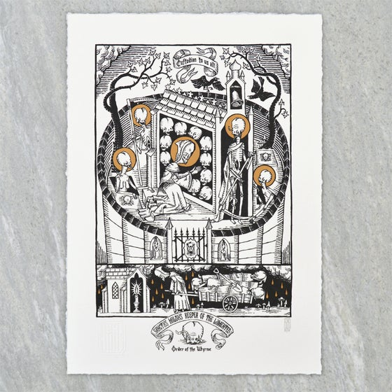 "Image of ""Sanctus Mildus Keeper of the Lamented"" Screen Print"