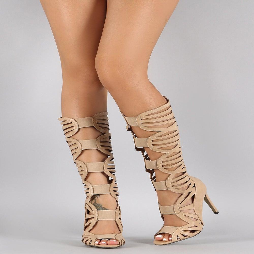 Image of Nude Jessy Knee-High Gladiator Sandal