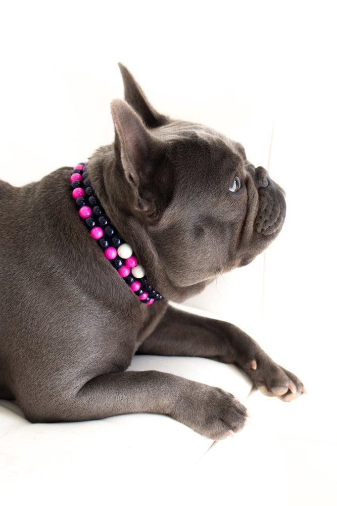 Image of Margot ~ Navy & Hot Pink Beaded Dog Necklace