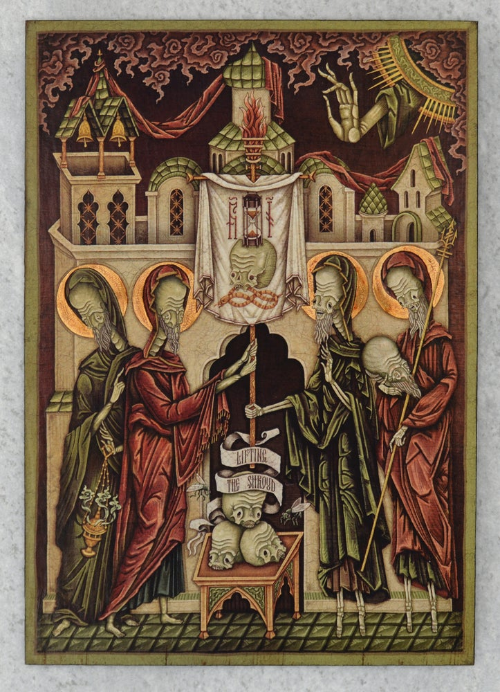 "Image of ""Lifting the Shroud"" Wooden Icon"