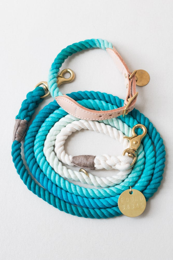 Image of Teal, Ombre Rope Dog Lead