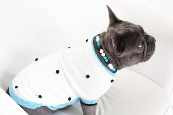Image of Rufus ~ Teal, Black & White Beaded Dog Necklace