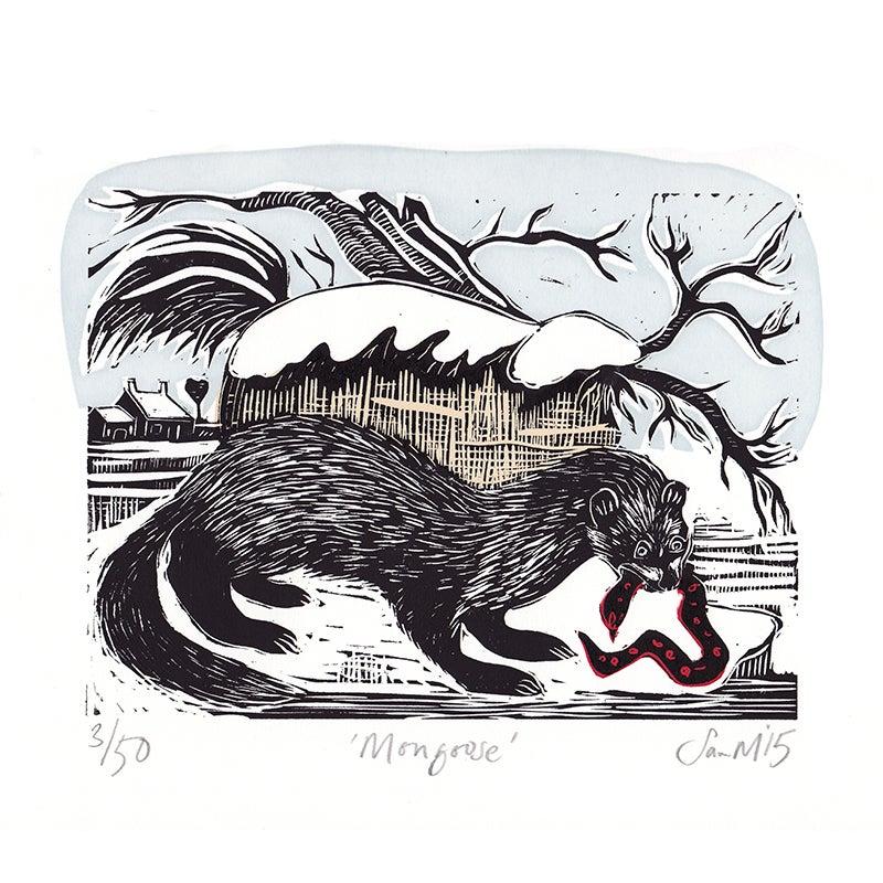 Image of 'Mongoose' - Linocut and screenprint