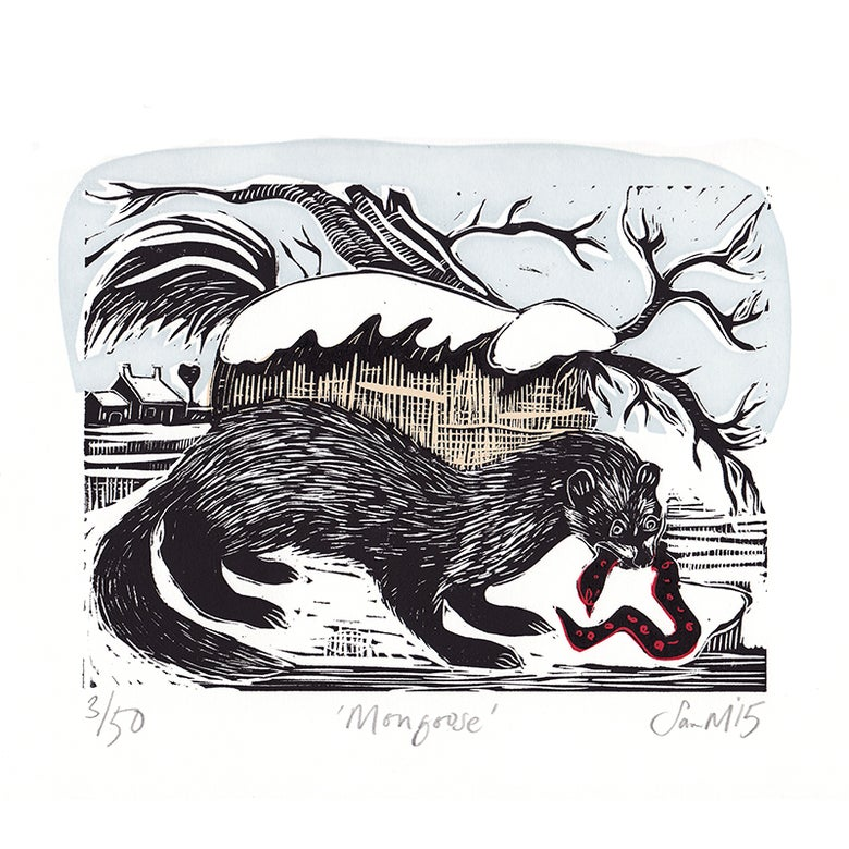 Image of 'Mongoose' - Linocut and screenprint