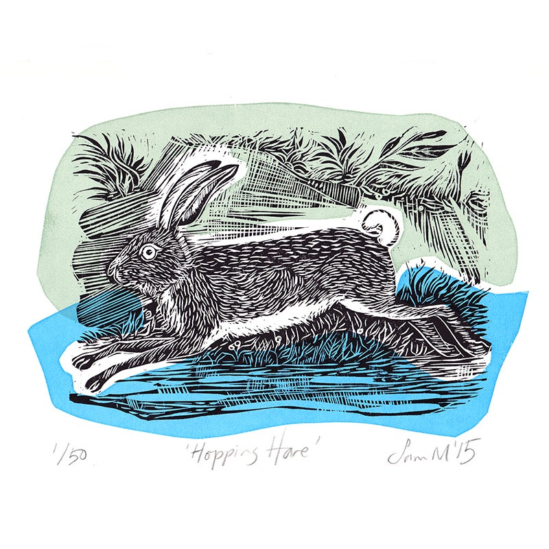 Image of 'Hopping Hare' - Linocut and screenprint