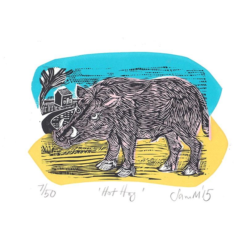 Image of 'Hot Hog' - Linocut and screenprint