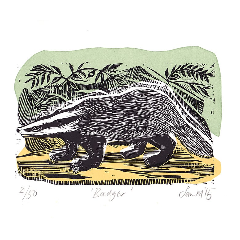 Image of 'Badger' - Linocut and screenprint