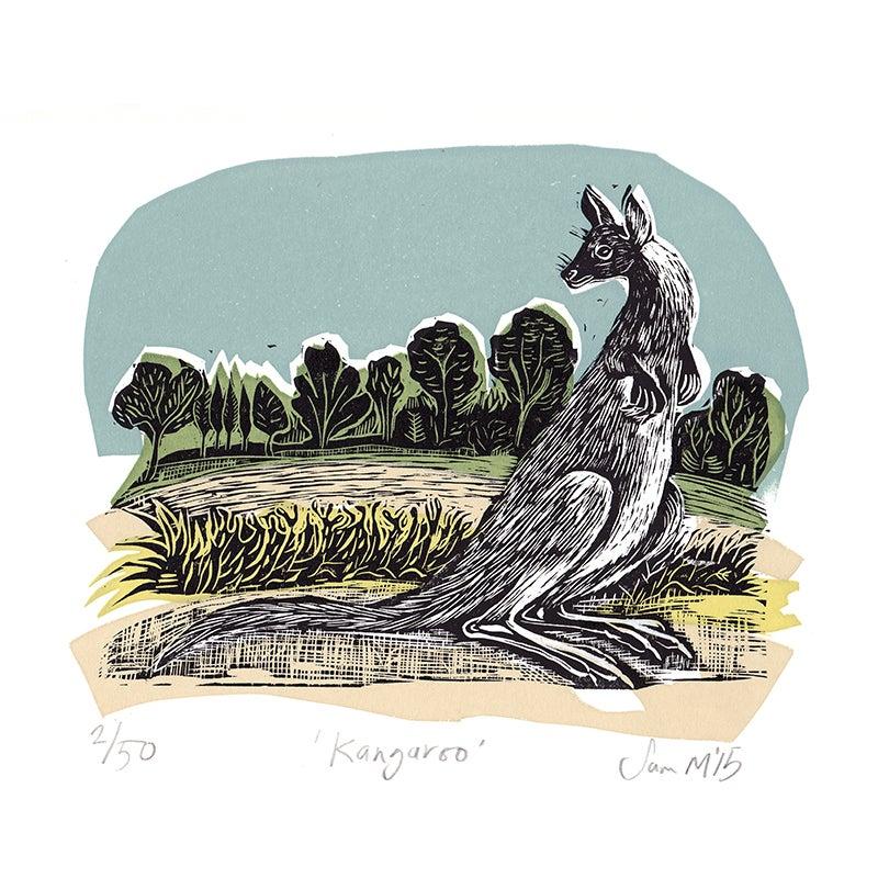 Image of 'Kangeroo' - Linocut and screenprint