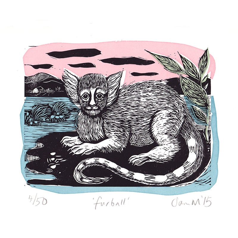 Image of 'Furball' - Linocut and screenprint