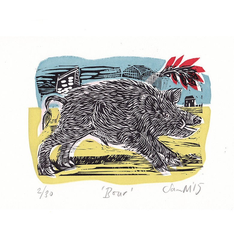 Image of 'Boar' - Linocut and screenprint
