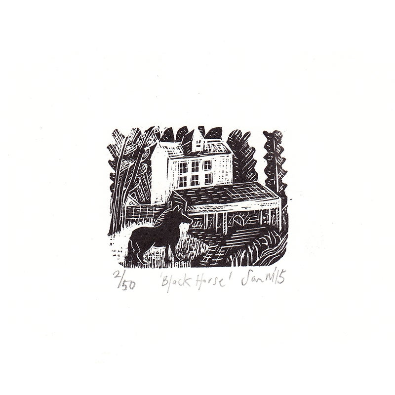 Image of 'Black  Horse' - Wood engraving